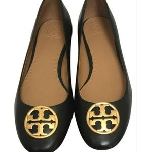 TORY BURCH Leather Ballet Flats, Size 9.